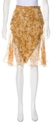 Zac Posen Semi-Sheer Printed Skirt