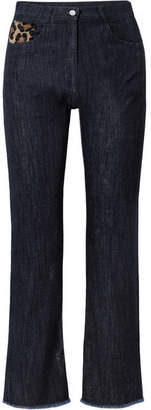 Michael Kors Calf Hair-trimmed High-rise Straight-leg Jeans - Dark denim
