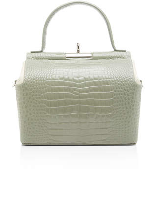 gu de Chord Two-Tone Croc-Effect Leather Top Handle Bag