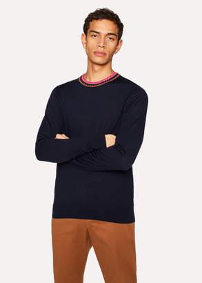 Paul Smith Men's Navy Merino Wool Sweater With Contrast Collar
