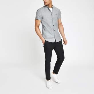 River Island Mens Grey muscle fit Oxford grandad shirt