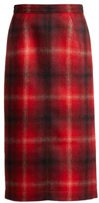 No.21 No. 21 - Tartan Felted Midi Skirt - Womens - Red Multi