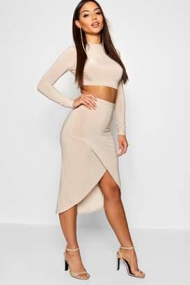 boohoo Mesh Sleeve Wrap Skirt Slinky Co-Ord