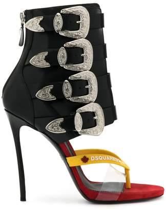 DSQUARED2 buckle embellished thong sandals