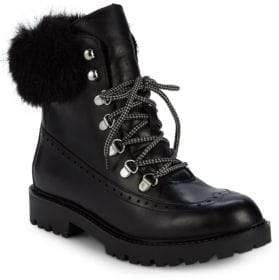 Charles David Ramses Faux Fur Trim Leather Hiking Boots