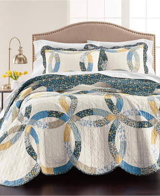 Martha Stewart Collection Wedding Rings Blue Twin Quilt