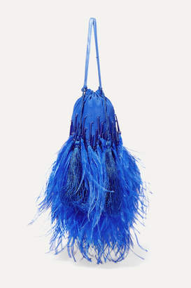 ATTICO Feather-trimmed Beaded Silk Pouch - Blue
