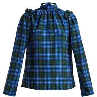 MSGM High Neck Tartan Blouse - Womens - Blue