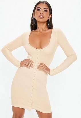 Missguided Cream Ribbed Popper Mini Dress