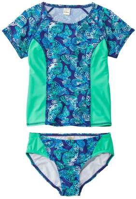 L.L. Bean L.L.Bean Girls' BeanSport Rashguard Bikini, Lined, Print