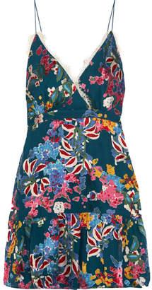 Saloni - Ani Lace-trimmed Floral-print Fil Coupé Chiffon Mini Dress - Blue $480 thestylecure.com
