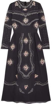 Vilshenko Sofia Embroidered Cotton-voile Midi Dress - Black