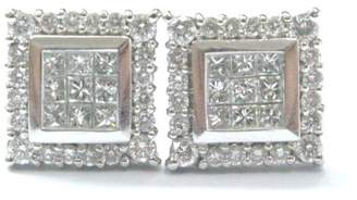 14K White Gold 0.78ct. Diamond Multi Shape Square Stud Earrings