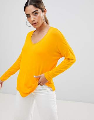 Asos Design DESIGN top with batwing long sleeve in yellow