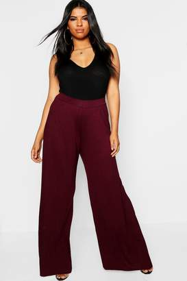 boohoo Plus Jersey Wide Leg Pants