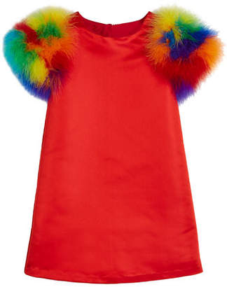 Charabia Elena A-Line Dress w/ Multicolored Feather Sleeves, Size 2-8