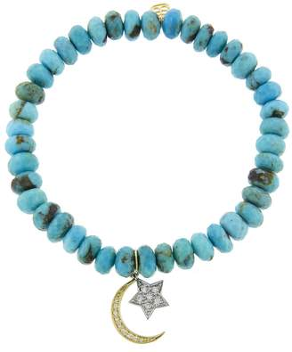 Sydney Evan Moon and Star on Turquoise Beaded Bracelet