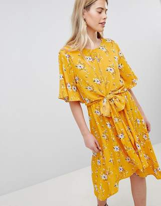 New Look Printed Flutter Sleeve Tie Front Wrap Midi Summer Dress