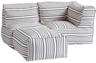 Pottery Barn Teen Prescott Sectional Set (1 Corner + 1 Center + 1 Ottoman), Antique Blue Stripe