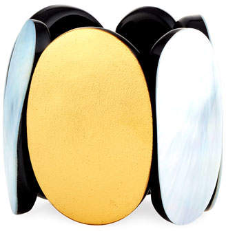 Viktoria Hayman Mother-of-Pearl & Foil Stretch Cuff Bracelet