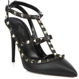 Valentino Women's Noir Rockstud Leather Ankle-Strap Sandals - Black - Size 37 (7)