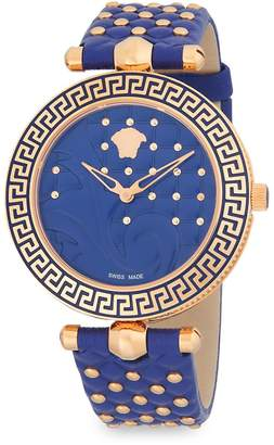 Versace Women's Studded Stainless Steel Analog Leather-Strap Watch
