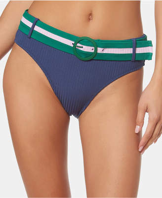 Jessica Simpson Ribbed Belted Hipster Bikini Bottoms Women Swimsuit