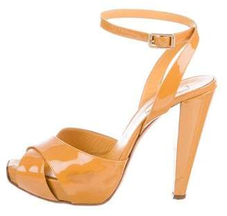 Giambattista Valli Patent Leather Crossover Sandals