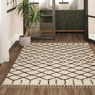 Bungalow Rose Beaulah Geometric Shag Cream Area Rug