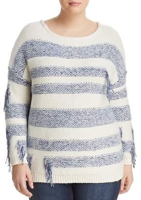 Vince Camuto Plus Fringe Stripe Sweater