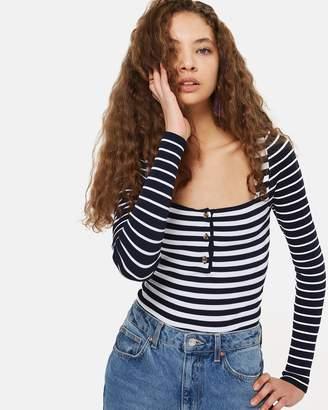 Topshop Button-Up Stripe Top