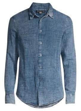 John Varvatos Long-Sleeve Windowpane Denim Button-Down Shirt