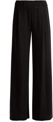 Goat Gable Wool Crepe Wide Leg Trousers - Womens - Black