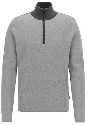 HUGO BOSS Micro-structure sweater with zip neck and colour contrasts