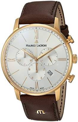 Maurice Lacroix Men's 'Eliros' Swiss Quartz Gold-Tone and Leather Casual Watch