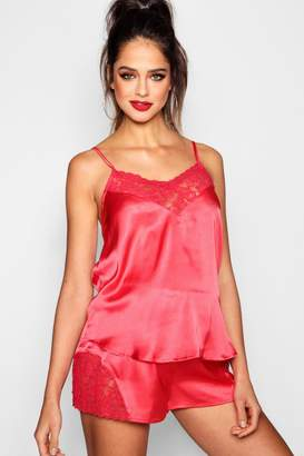 boohoo Maternity Lace Detail Satin Short Set