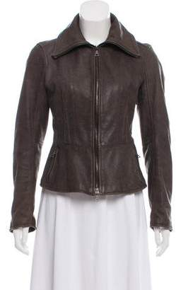 Prada Sport Leather Zip-Up Jacket