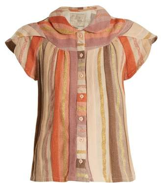 Ace&Jig Monet Ruffle Sleeved Striped Cotton Blend Top - Womens - Multi