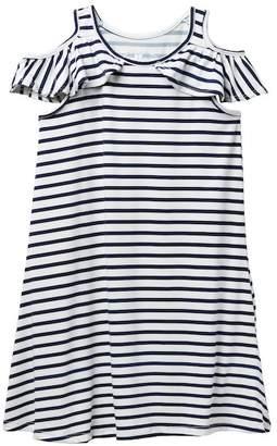 Poof Striped Cold-Shoulder Dress (Big Girls)