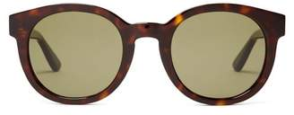 Saint Laurent Monogram Round Frame Sunglasses - Womens - Tortoiseshell