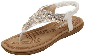 080c32f488087 AGOWOO Bling Jeweled Studded Flat Thong Beach Sandals for Women 8.5 B(M)