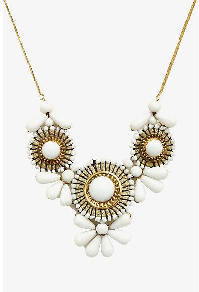 Torrid Gold & White Statement Necklace