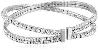 Anne Klein Women's Silver Tone Pearl Coil Pave Cuff Bracelet