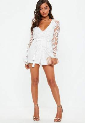 Missguided Sheer Floral Print Deep Plunge Playsuit