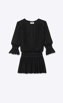 Saint Laurent Smocked Dress Embroidered With Studs