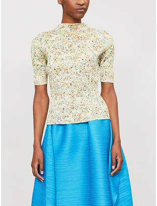 Pleats Please Issey Miyake Speckle-print pleated top