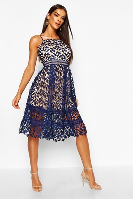 boohoo Harlow Corded Lace Detail Midi Skater Dress