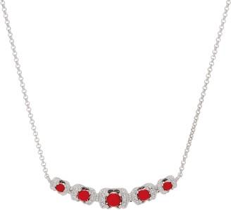 Gemstone Diamond Cut Curved Bar Necklace, Sterling Silver