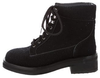 Chanel Flannel Lace-Up Ankle Boots