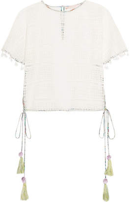 Matthew Williamson Pompom-embellished Lace Top - White